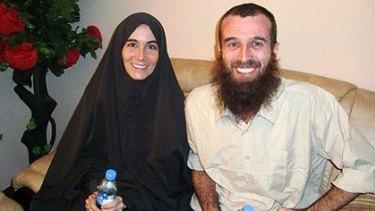Free at last ... Amanda Lindhout and Nigel Brennan, before leaving Somalia's capital Mogadishu.