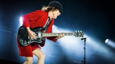 Angus Young on stage at Etihad Stadium during AC/DC's 'Rock or Bust' World Tour.