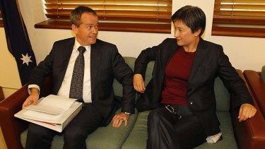 ALP leader Bill Shorten with Labor senate leader, Senator Penny Wong.