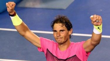 Relief: Rafael Nadal celebrates winning his men's singles match against Tim Smyczek.