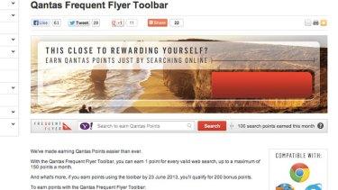 The Qantas toolbar.