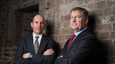 Peter Beaumont left, CEO, and Stephen Porges, chairman, run DirectMoney together in Sydney.
