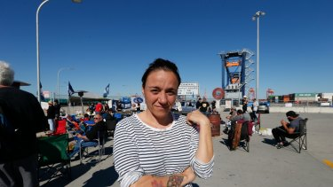Leyre Diaz at the picket line at Port Botany on Monday.
