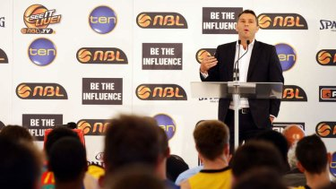 In control:  NBL CEO Stephen Dunn speaks during the 2013/14 NBL Media Season Launch at The Entertainment Quarter in Sydney.