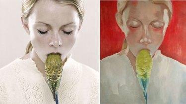 The original photograph <i>Shenae and Jade</i> by Hicks, left, and <i>Bird</i> by Marek Hospodarsky, right.