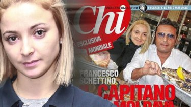 Domnica Cemortan and the magazine cover from Chi, showing her at a meal of oysters and crab with Captain Francesco Schettino.