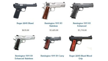 A selection of the handguns on sale at O'Reillys Firearms in Thornbury.