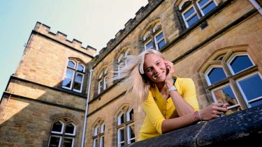 Australian pole vaulter Liz Parnov poses for photos at the Tonbridge School in Kent.