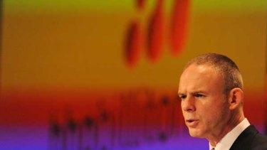 BHP chief executive Marius Kloppers announces BHP's record profit yesterday.