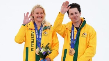 Jess Gallager and Christian Geiger after winning the silver medal int the  giant slalom (vision-impaired classification).