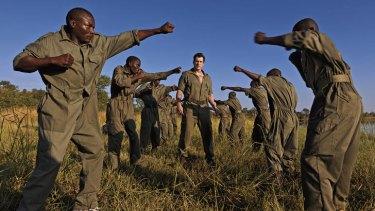 Eco warriors … Damien Mander puts International Anti-Poaching Foundation rangers through training at his group's Victoria Falls base in Zimbabwe.