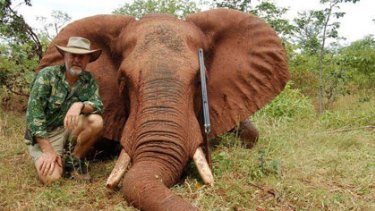 "Robert Borsak, on safari in Africa pictured with one of the bull elephants he had killed, and his boast: ""It was awesome."""
