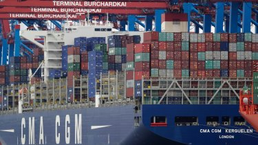 Still support for globalisation: Shipping containers are stacked on a ship in the port in Hamburg, Germany.