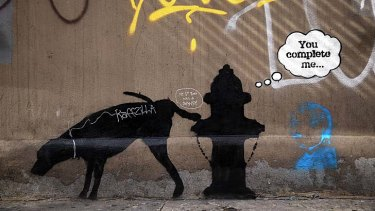 One of three new Bansky works to appear in New York City. The works have appeared in recent days with two of them quickly being vandalized by other graffiti.