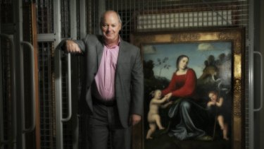 National Gallery of Victoria director Gerard Vaughan with the 16th-century Francesco Francio painting titled <i>Virgin and Child with the Young Saint John in a Garden of Roses</i>.