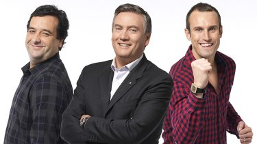 Between The Lines stars Mick Molloy, host Eddie McGuire and Ryan Fitzgerald.