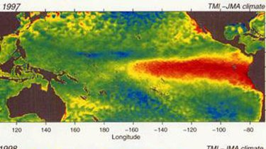 Satellite image of the most recent 'super' El Nino, taken in December 1997.