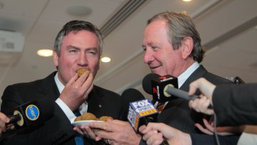 GWS coach Kevin Sheedy gives Eddie McGuire a mouthful – of felafel.