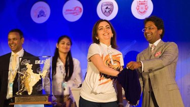 Nita Ambani, owner of the Mumbai Indians, and Lalit Modi, chairman and commissioner of the IPL, at the auction held in January in Mumbai.