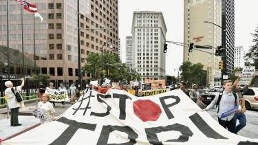 An anti-TPP protest last year in Atlanta, Georgia, US.