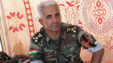 Commander Majdid Harki at outpost outside Kalak in Kurdistan, the semi-autonomous region of Iraq.