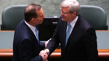 Let the battle begin: Prime Minister Kevin Rudd is congratulated by Opposition Leader Tony Abbott in Parliament on Thursday.