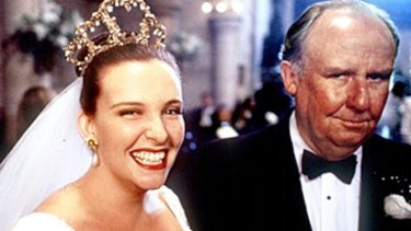 Muriel (Toni Collette) with her father (Bill Hunter) in P.J. Hogan's smash 1994 hit <i>Muriel's Wedding</i>.