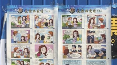 """In the 2016 'dangerous love' poster by Chinese authorities, """"David the scholar"""", steals state secrets."""