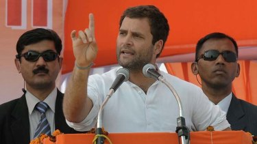Poster boy … Rahul Gandhi addresses supporters.