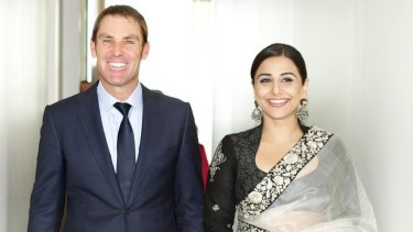 Shane Warne, whose foundation is charity partner for the festival, with festival ambassador Vidya Balan.