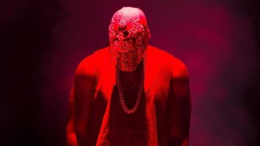 Kanye West donned a mask for his performance.