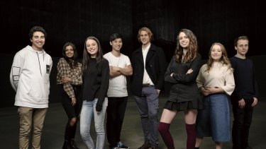 The young cast of Tomorrow When The War Began: (l-r) Narek Arman as Homer, Madeleine Madden as Corrie, Madeleine Clunies-Ross as Fi, Jon Prasida as Lee, Andrew Creer as Kevin, Molly Daniels as Ellie, Fantine Banulski as Robyn and Keith Purcell as Chris.