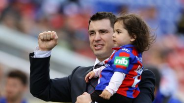 Forced to retire: James McManus said goodbye to fans at Hunter Stadium in Round 23 last year.
