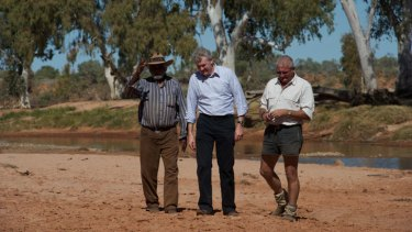 Nothing captured: Pictured in 2011 at Henbury are traditional owner Bruce Breaden (left), the then environment minister Tony Burke and David Pearse, managing director of RM Williams.