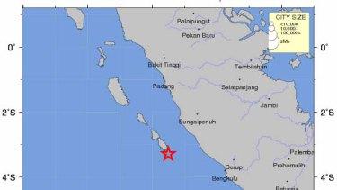 The earthquake in the Mentawai Islands region off Sumatra, Indonesia.