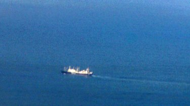 The Nisshin Maru as seen from the drone on December 24, 2011.