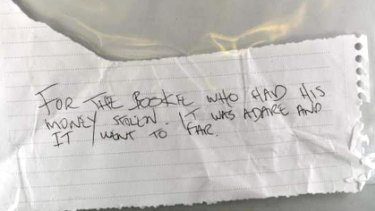 The note found with a bookie's stolen cash at Flemington police station.