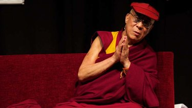 The Dalai Lama during his public talk at the Melbourne Convention Centre.