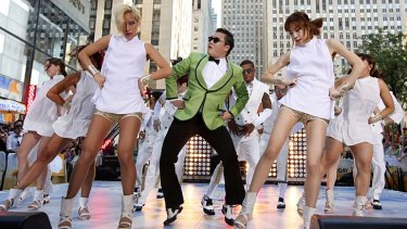 ''Riding an invisible horse'' ... Psy performs in New York.