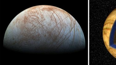 Europa's icy surface is fractured and crisscrossed with broken ice - one hint that there is a liquid water ocean hiding underneath. (NASA/JPL-Caltech/SETI Institute) RIGHT: This illustration of Europa's interior cuts into its rock and ice crust to reveal a liquid water interior and a rocky core. (NASA/JPL)