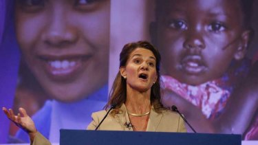 Melinda Gates makes her $550 million pledge to London's Family Planning Summit.
