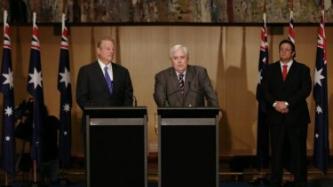 Former US Vice President Al Gore, Palmer United Party Leader Clive Palmer and incoming PUP Senator Glenn Lazarus deliver statements to the media during their joint press conference in the Great Hall at Parliament House.