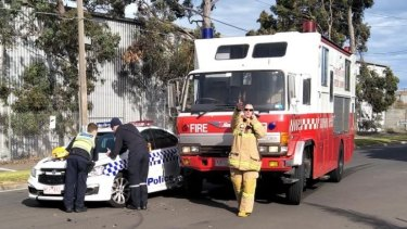A police car and fire truck collided at the scene of the Coolaroo fire.