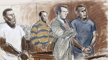 Artist's sketch of the court scene.