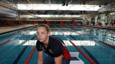 Australian women's water polo captain Kate Gynther poolside at the AIS.