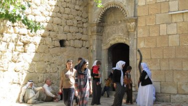 Entrance to the shrine of Sheikh Adi, the holiest site in the Yazidi faith.