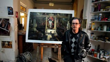 """""""It is not politically correct art, but thank God for that"""" ... Rodney Pople in his Marrickville studio with his <i>Cardinal with Altar Boy</i>."""