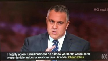 Joe Hockey goes on the defensive on ABC's <i>Q&A</i>.