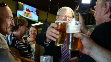 Prime Minister Kevin Rudd at the Condong Bowling Club in Tweed Heads, NSW, on Monday.