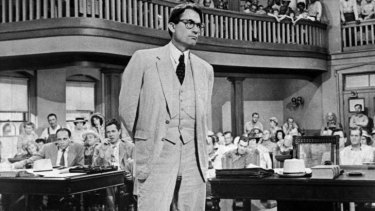 Gregory Peck plays lawyer Atticus Finch in the 1962 film version of <i>To Kill a Mockingbird</i>.